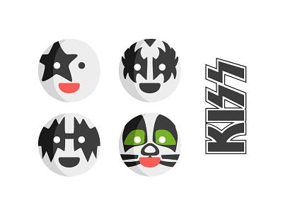KISS emoji 💋 painted emoji set emoji rockstar rock musician kiss heavy metal glam cute character band