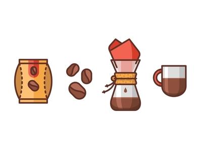 Coffee Love cute line flat packaging branding vector mug illustration icon coffee chemex caffeine