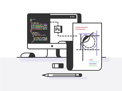 Illustration for Avocode clean color flat grid icons illustration landing page layout overview ui web design website