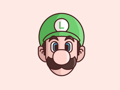 Luigi colour icon illustration lines nintendo star super mario cute luigi vector game character design