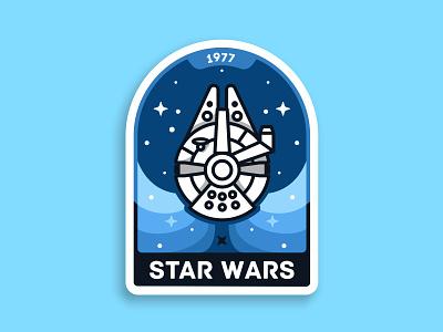 Star Wars badge 🏅 outline millennium falcon galaxy starwars space spacecraft han solo ship sci fi illustration icon badge