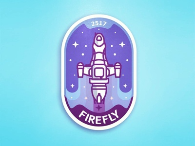 Firefly badge 🏅 badge icon illustration sci fi ship space spacecraft space ship stars firefly serenity