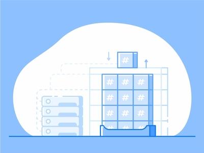Storage Header server illustration icon connecting block storage application app size system scalable storage