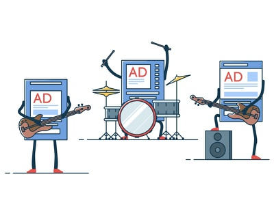 Ads Rock band guitar illustration microphone music rock character electric guitar line art drums ad instruments