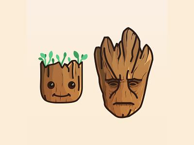 I am Groot   wood tree line design cute illustration guardians of the galaxy groot gotg fanart disney art