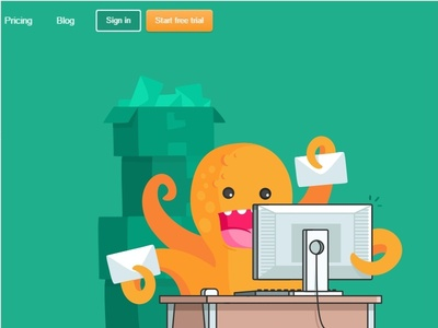 Subbly cute Octopus hosting company octopus blog monster illustration business fun flat subscription design cutte avatar