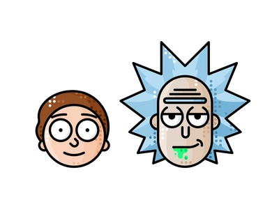 Rick And Morty icon 2d cute vector rick and morty rick photo morty illustration line fan cartoon