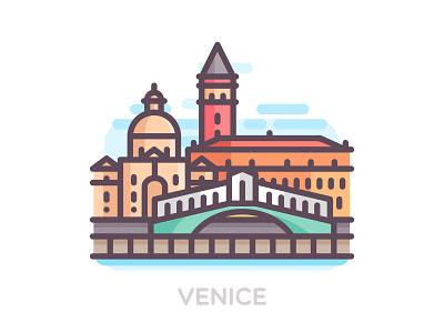 Venice travel street skyline italy outline line landmark icons color city buildings venice