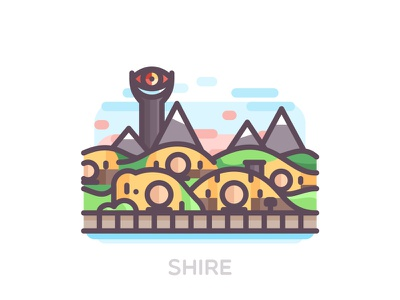 Shire travel outline icons color city house landscape hobbits hobbiton the shire middle earth lord of the rings
