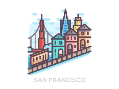 San Francisco badge vector colorful san francisco landscape landmark illustration flat city building bridge bay