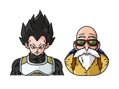 Vegeta And Master Roshi avatar animation 2d character vegeta master roshi vector line illustration goku dragonball friends
