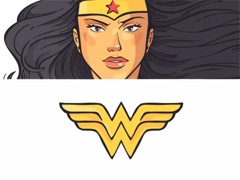 Wonder Woman + W character design female dc comics girl cute power colorful mark style sign wonder woman logo