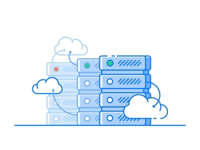 Cloud Database website web server proxy proxies private database tech stack servers cloud illustration