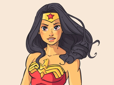 Wonder Woman No2 illustration beautiful flat pretty vector smile sexy wonder woman character design girl dc comics cute