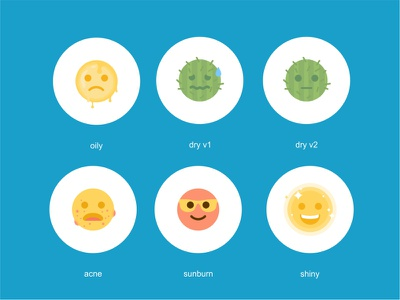 Emoji smile reactions colorful emoji set emoji cute acne shine oily dry sunburn cactus