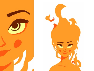 Fire Girl 🔥 fire beautiful flat pretty vector smile sexy female fire girl girl character design cute