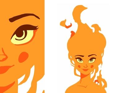 Fire Girl 🔥 fire beautiful flat pretty vector smile sexy female fire girl girl character design cute