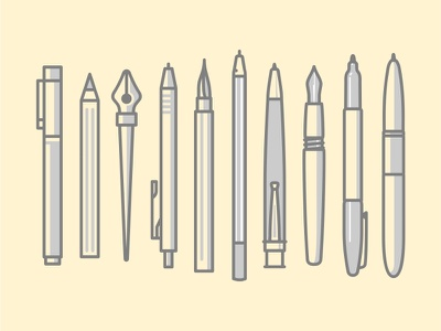 Pens art pencil collection pens mark logo illustration icons iconography icon tool brush