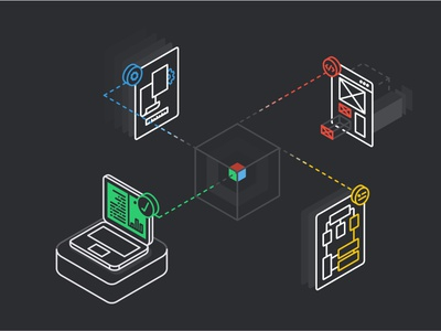 Rapid Prototyping no.1 page web technology isometric design icon line data connect tool adobe 2d