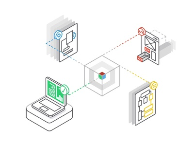 Rapid Prototyping No.2 2d adobe tool connect data line icon design isometric technology web page