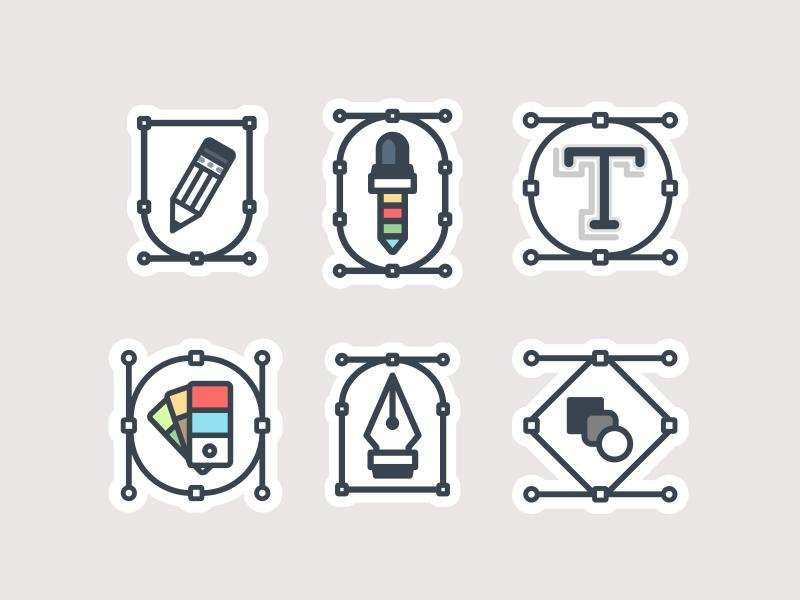 Adobe Tools badge banner type tool eyedropper tool icon line pen stroke tool sticker color pallet blend tool