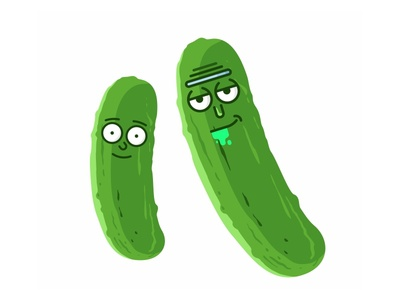 Rick And Morty 🥒🥒 illustration kolbisneat pickle rick rick and morty pickle 2d cartoon cute fan icon vector flat