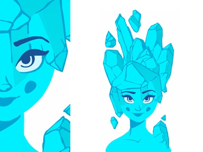Ice Girl ❄️☄️ cute character design girl ice girl female sexy smile vector pretty flat beautiful ice