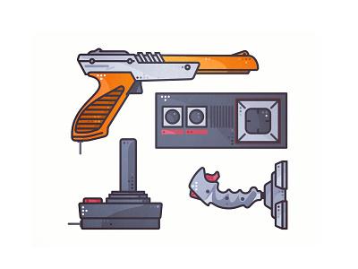 Retro Joystick 🕹️ arcade illustration joystick gun design retro gaming game video 80s 90s atari nintendo