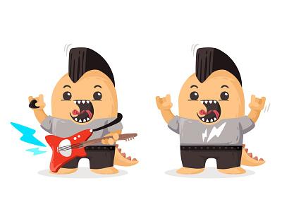 Rock Monster 🎸⚡ character guitar monster rock mohawk music rockstar flat rocker sing cutte avatar