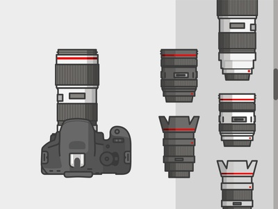 Camera And Lenses 📷 2d camera canon metal nikon vray lenses line icon illustration lens vector