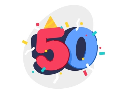 50 Party 🎉 icon happy confety vector thanks party number letter illustration colors celebrate 50