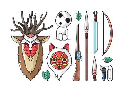 Princess Mononoke weapons colorful design illustration icons mononoke princess kodama kawaii cute ashitaka miyazaki