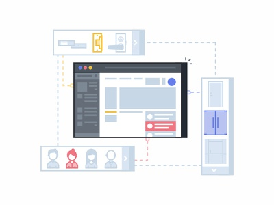 Web Dashboard visualization product navigation locks isometric interface doors graph people data dashboard 2d