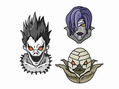 Sidoh And Rem 👹 rem sidoh death note ryuk death note 2d deamon anime shadow apple illustration