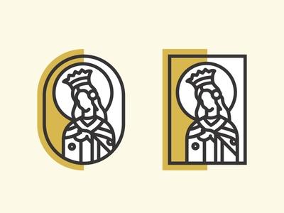 Sv. Jelena ⛪ saint jelena saint miracle religion prayer deisgn line illustration vintage wine label woman church