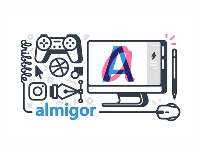 almigor user tools soni profile pen tool pen mouse monitor instagram dribbble computer ball