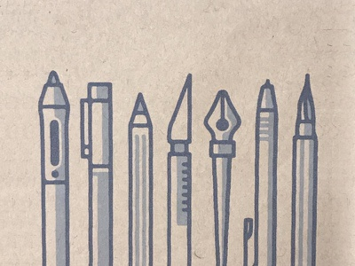 Printed Designtools texture brush tool icon iconography icons illustration mark pens collection pencil art