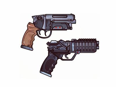 Blade Runner Guns icon weapon line design illustration blaster gun raygun52 pistol texture colors cyberpunk blade runner