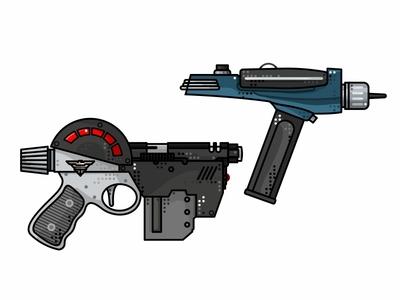 Judge Dredd And Star Trek Guns star trek comic phaser texture pistol judge dredd gun lawgiver illustration line design weapon icon