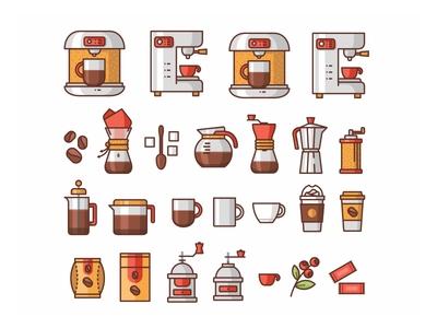 Coffee Icons ☕ caffeine plant coffee icon illustration mug vector branding packaging flat line cute