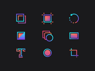 Colorful Adobe tools icon icons adobe tool stroke pen line graphic gradient 2d layers