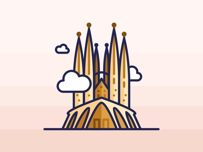 Sagrada Familia barcelona monument spain sagrada familia world architecture travel landmark icons graphic iconography city building