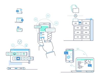 Enterprise And Team Illustrations authentication secure technology communication files office settings chat message illustrations team enterprise