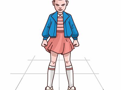 Eleven character design badass girl tv show stranger things netflix mike lucas illustration character eleven dustin 80s