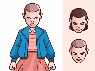 Eleven character design badass girl tv show stranger things netflix mike lucas illustration character eleven dustin 80s