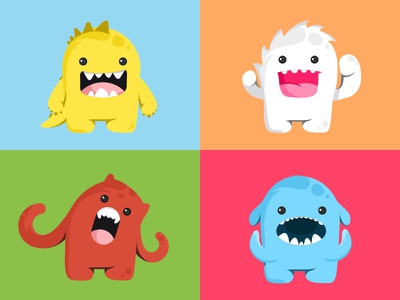 Monsters mark design sticker smile monsters illustrations fun flat cute colors characters animals