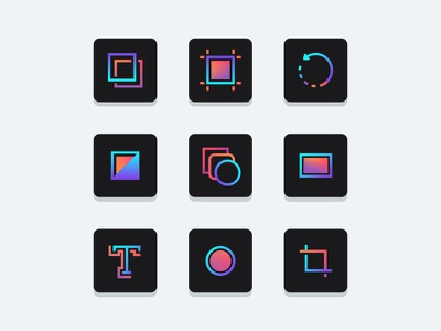 Colorful Adobe Tools tool stroke pen line layers icons icon graphic gradient adobe 2d