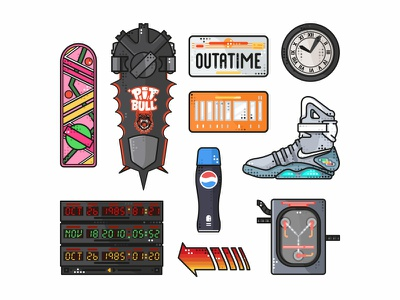 Back To The Future Stuff back to the future icons clock marty mcfly hoverboards evolution time vector future delorean pepsi