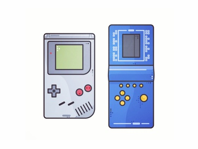 GameBoy 🔛Tetris 80s 90s illustration gaming console colors arcade game oldy retro tetris gameboy