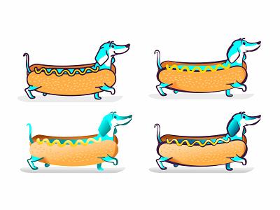 Dachshund pet cartoon character ios app sticker icon hotdog yellow wiener dog dog dachshund